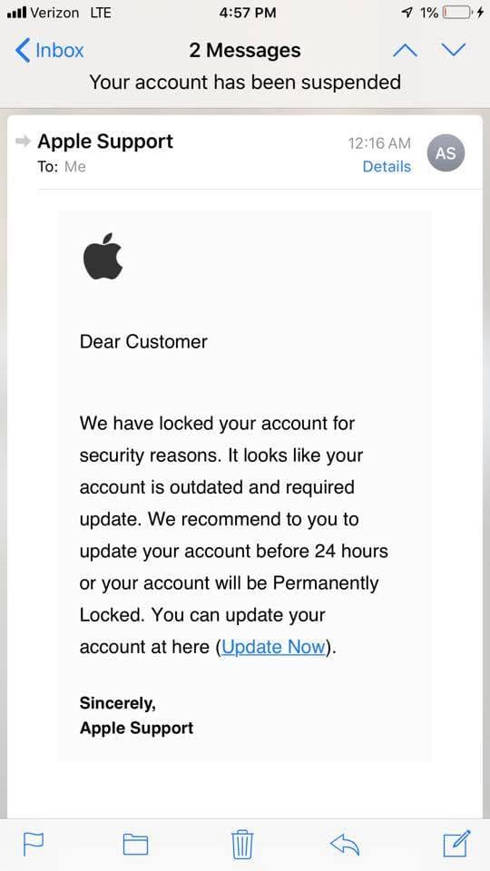 iphone phishing scam apple repair